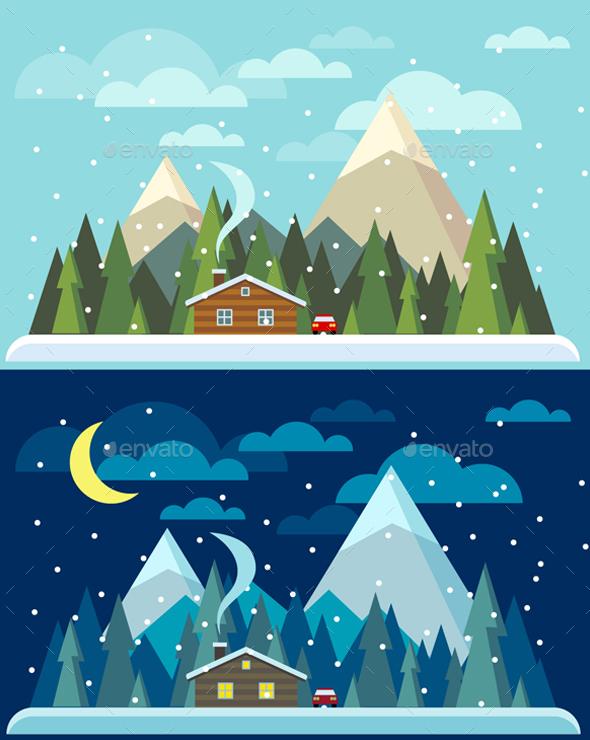 Vector Flat Winter Landscapes