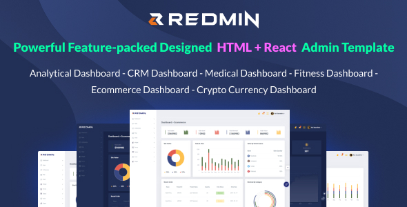 Redmin - React+HTML+Dark Version Admin Template