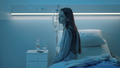 Sad sleepless patient sitting on the hospital bed at night - PhotoDune Item for Sale