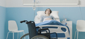 Hospitalized patient lying in bed and wheelchair - PhotoDune Item for Sale