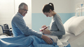 Father visiting her daughter at the hospital - PhotoDune Item for Sale