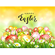 Yellow Nature Background with Colorful Easter Eggs and Card - GraphicRiver Item for Sale