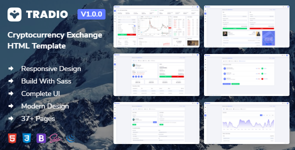 Tradio - Cryptocurrency Exchange Dashboard HTML Template + Landing page + Light & Dark