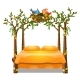 Orange Color Bed with Decor Form of a Frame - GraphicRiver Item for Sale
