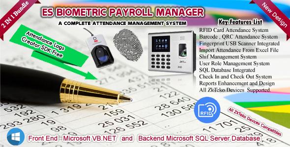 ES Biometric / RFID / QRC / Barcode Attendance &  Payroll Manager