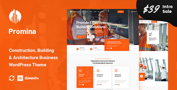 Promina – Construction And Building WordPress Theme Preview