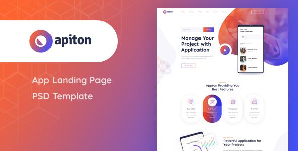 Apiton - App Landing Page PSD Template