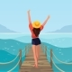Happy Girl on the Beach. Summer Vibes. - GraphicRiver Item for Sale