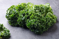 Fresh kale leaves, salad on grey background. Copy space - PhotoDune Item for Sale