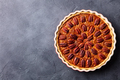Pecan nut pie, tart in baking dish. Grey background. Copy space. Top view. - PhotoDune Item for Sale