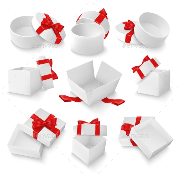 White Open Gift Box Mockup Set, Vector Isolated