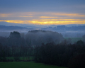 Foggy and cloudy sunrise in the countryside - PhotoDune Item for Sale