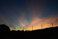 Twilight Rays at Sunset over a Wind Farm - PhotoDune Item for Sale