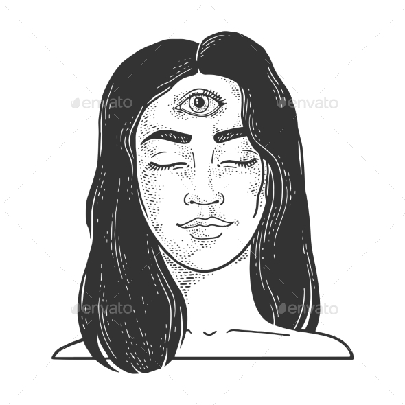 Woman with Three Eyes Sketch Vector Illustration