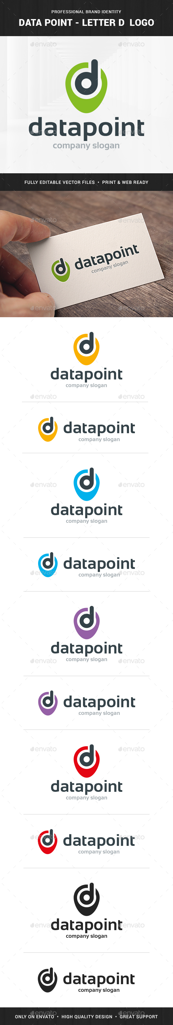 Data Point - Letter D Logo