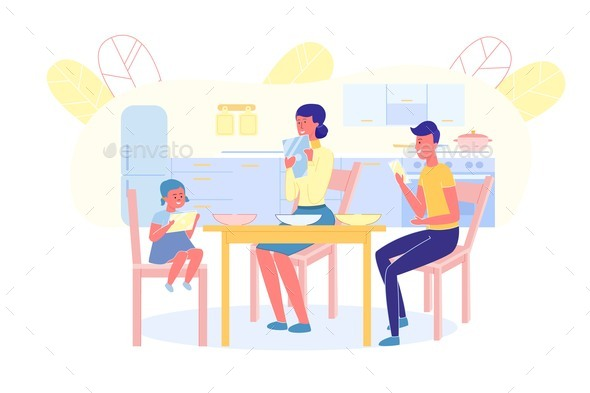 Family in Dinning Room and Holding Mobile Phone
