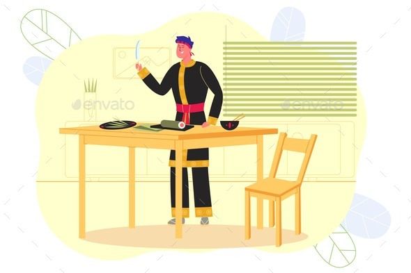 Man Preparing Sushi in Asian Restaurant, Banner.