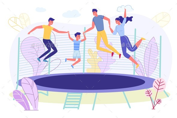 Happy Family Jumping on Trampoline Rest Together