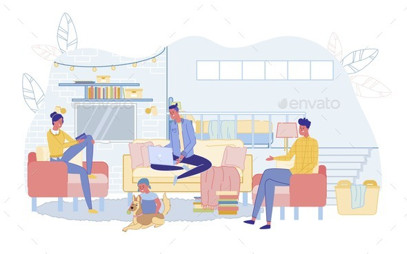 Happy Family Spending Time in Home Living Room