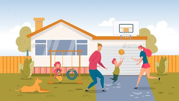Happy Family Playing Ball on Backyard at Home