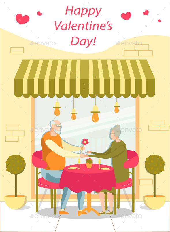 Old People Celebrating Valentine Day, Having Date.