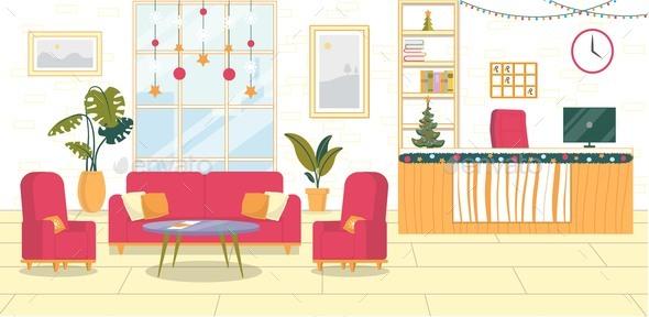 Base New Year Lobby Interior in Hotel or Hostel.