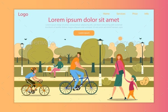 Happy Family People Walking in Park Landing Page