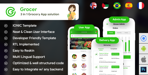 Grocery Android App + Grocery iOS App Template| 3 Apps