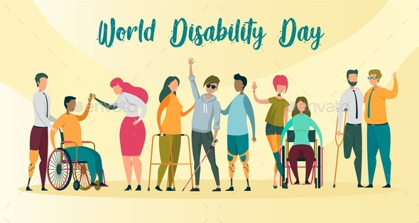 World Disability Day Banner, Handicapped People.