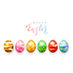 Lettering Happy Easter and Colored Eggs - GraphicRiver Item for Sale