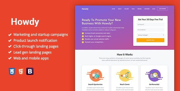 Howdy - Multipurpose High-Converting Landing Page WordPress Theme