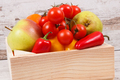 Fruits with vegetables in wooden box as healthy snack or dessert containing natural vitamins - PhotoDune Item for Sale