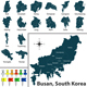 Map of Busan with Districts - GraphicRiver Item for Sale