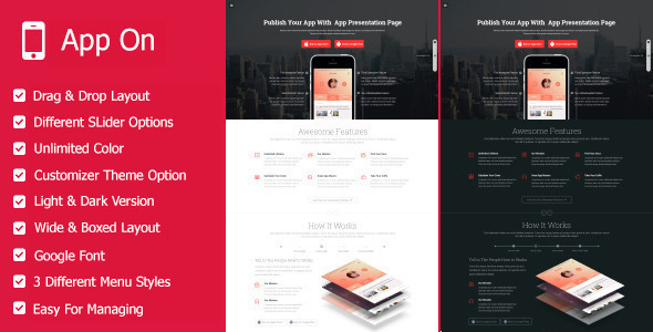 App on - Landing Pages WordPress Theme