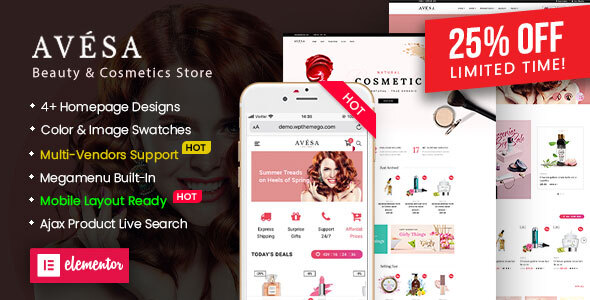 Avesa – Beauty & Cosmetics Store WooCommerce WordPress Theme (Mobile Layout Ready) Preview