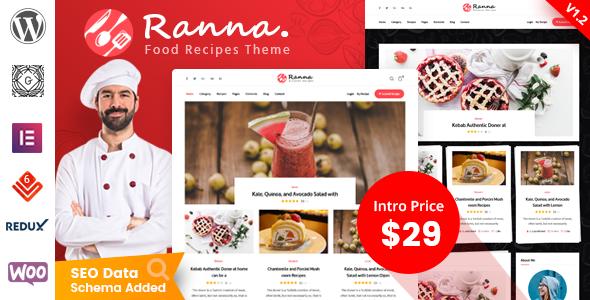Ranna – Food & Recipe WordPress Theme Preview