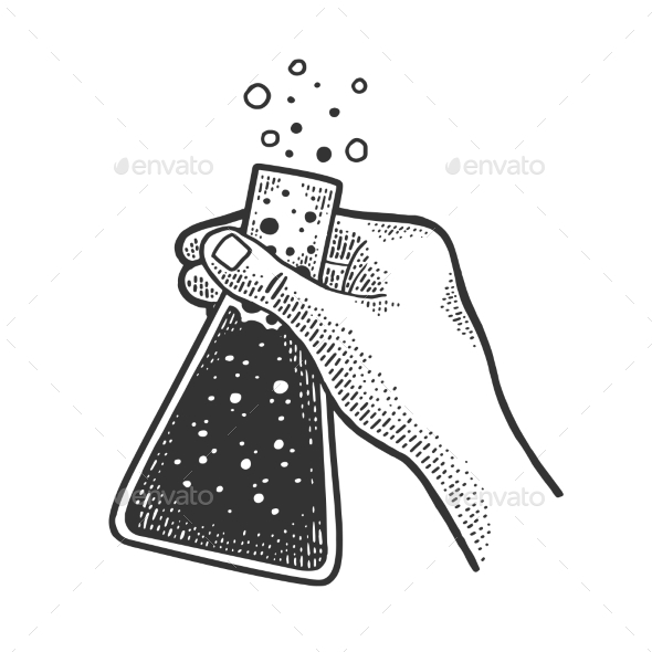 Chemical Flask with Liquid in Hand Sketch Vector