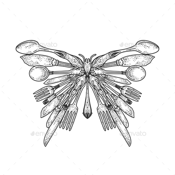 Butterfly Silhouette Made of Cutlery Sketch Vector