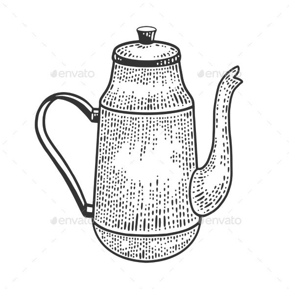 Tall Antique Kettle Sketch Vector Illustration