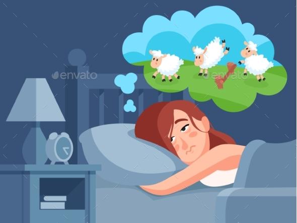 Woman Counts Sheep To Sleep