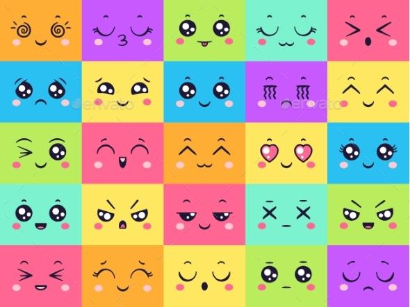 Colored Faces Collection Emoticon Emotion