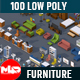 100 Low Poly Furniture Pack 4 in 1 - 3DOcean Item for Sale