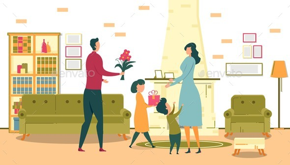 Mothers Day Celebration, Congratulating Woman.