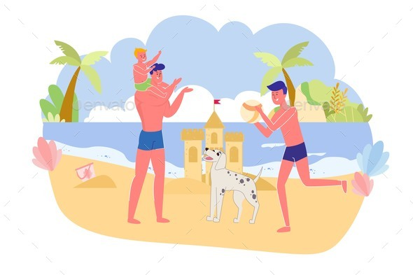 Father with Sons and Dog Playing Ocean, Cartoon.