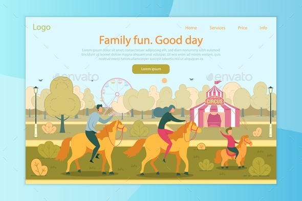 Family Fun Good Day in Amusement Park Landing Page