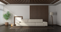 Minimalist living room with wooden paneling on background - PhotoDune Item for Sale
