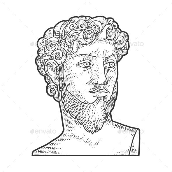 David Sculpture with Beard Sketch Vector