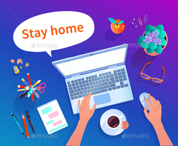 Stay Home Concept Vector Top View Illustration