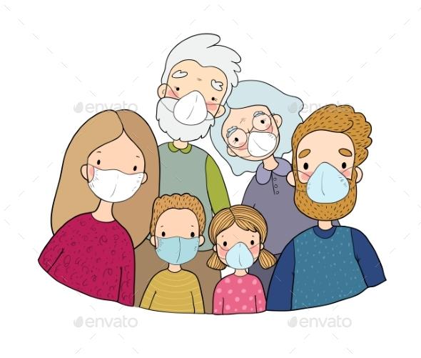 Family in White Medical Face Mask