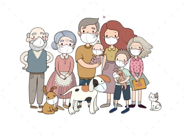 Family and Animals in White Medical Face Masks